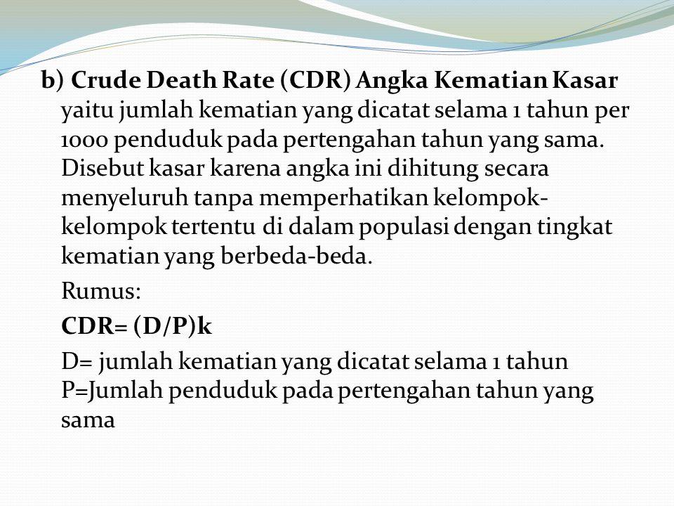 b) Crude Death Rate (CDR) Angka Kematian Kasar yaitu jumlah kematian yang dicatat selama 1 tahun per 1000 penduduk pada pertengahan tahun yang sama. D