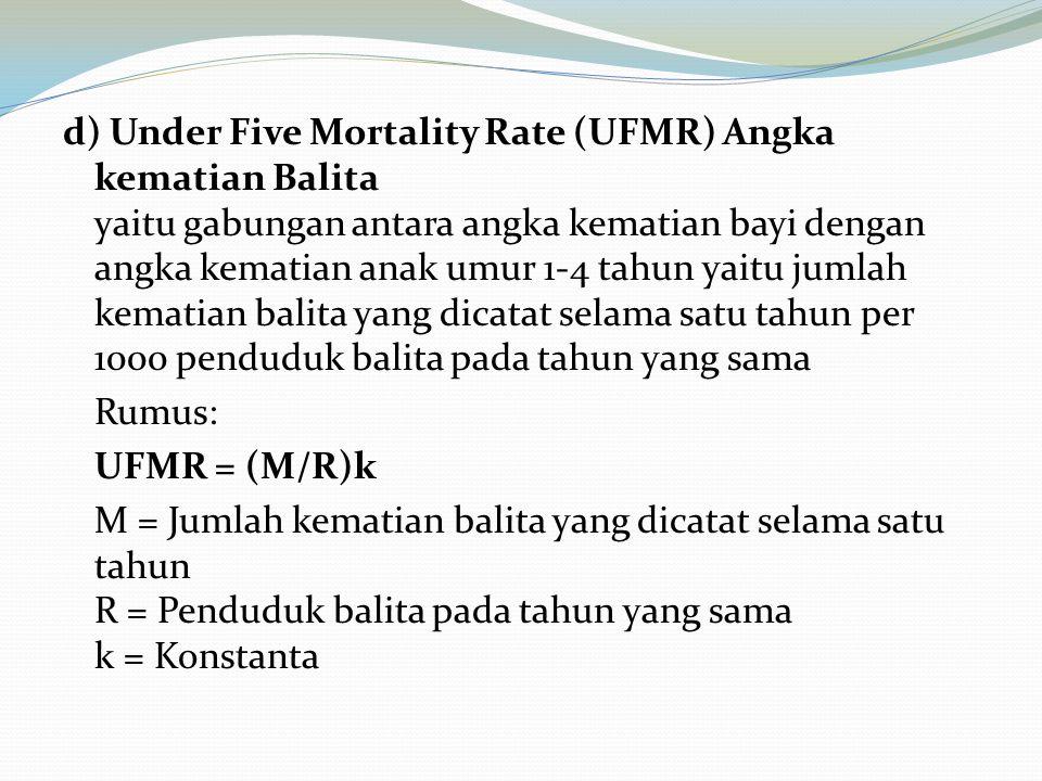 d) Under Five Mortality Rate (UFMR) Angka kematian Balita yaitu gabungan antara angka kematian bayi dengan angka kematian anak umur 1-4 tahun yaitu ju