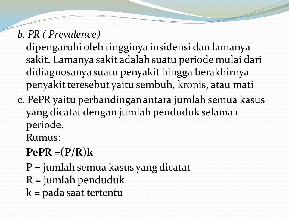 b. PR ( Prevalence) dipengaruhi oleh tingginya insidensi dan lamanya sakit. Lamanya sakit adalah suatu periode mulai dari didiagnosanya suatu penyakit