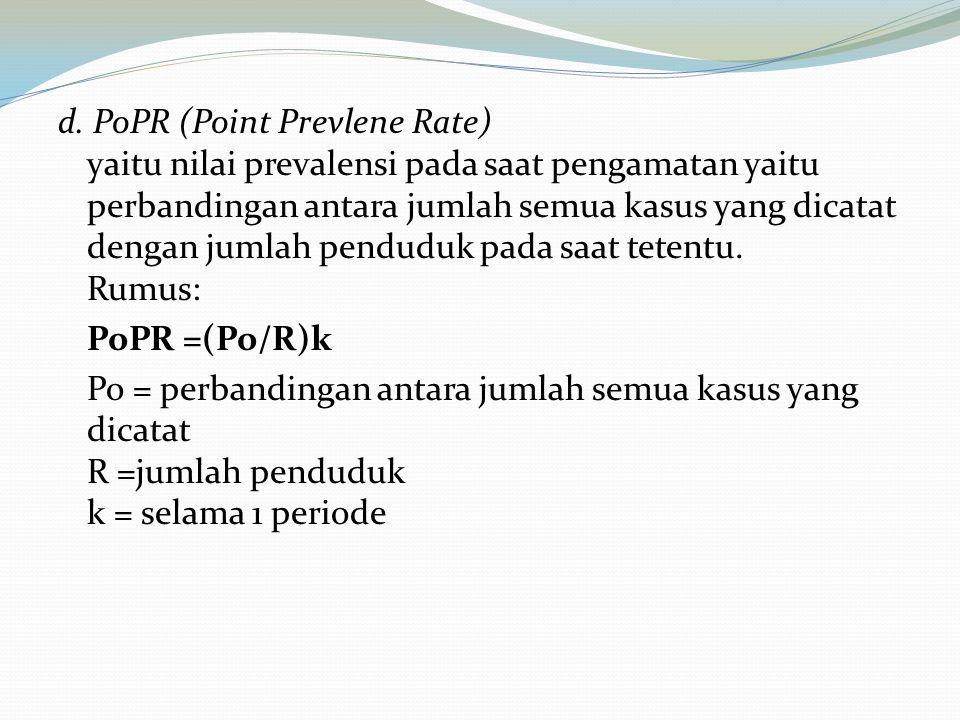 d. PoPR (Point Prevlene Rate) yaitu nilai prevalensi pada saat pengamatan yaitu perbandingan antara jumlah semua kasus yang dicatat dengan jumlah pend