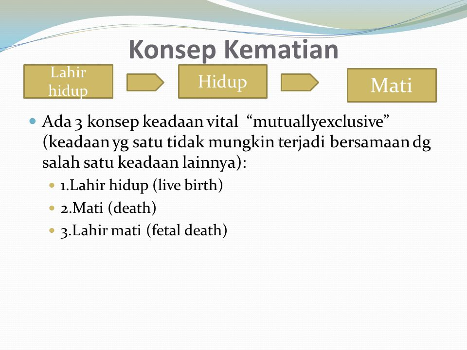 i) Specific Death Rate Merupakan angka kematian yang ditujukan kepada penyebab kematian spesifik oleh penyakit tertentu.