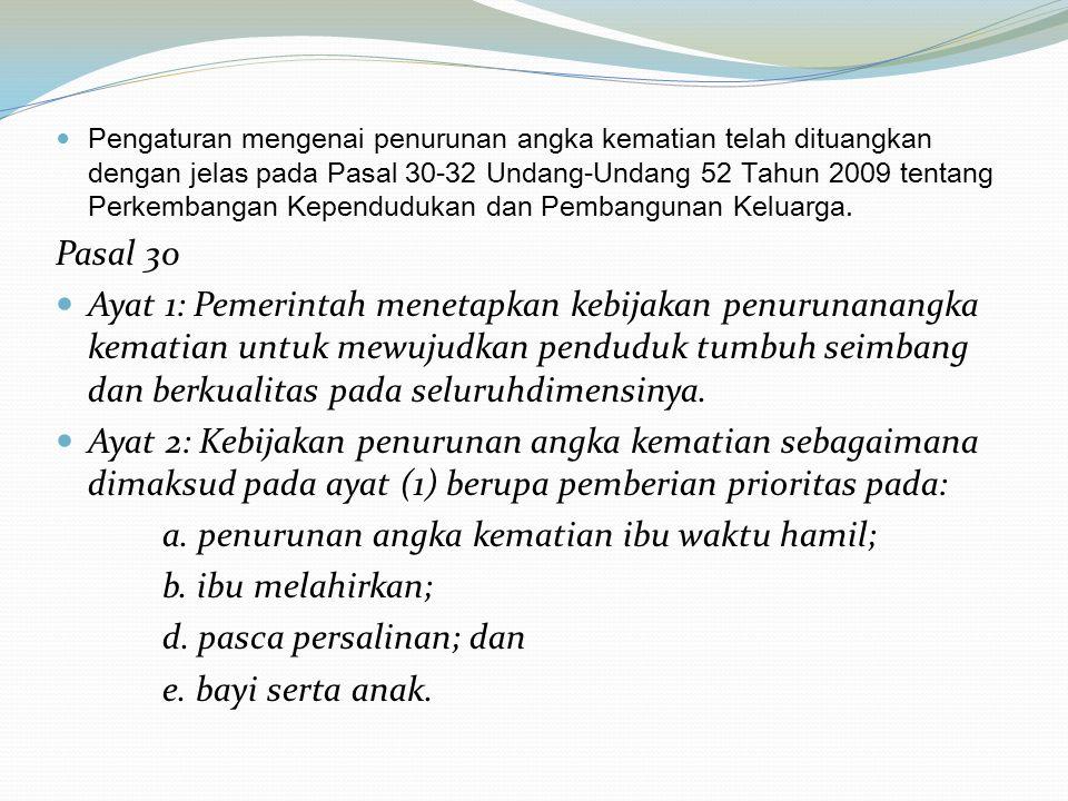 Pengaturan mengenai penurunan angka kematian telah dituangkan dengan jelas pada Pasal 30-32 Undang-Undang 52 Tahun 2009 tentang Perkembangan Kependudu