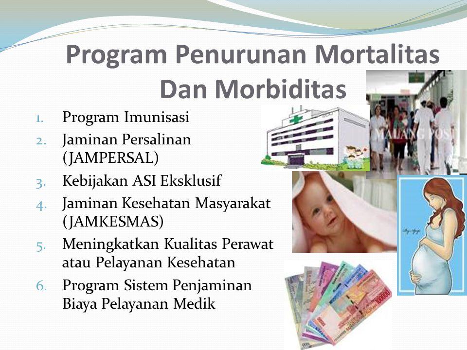 Program Penurunan Mortalitas Dan Morbiditas 1. Program Imunisasi 2. Jaminan Persalinan (JAMPERSAL) 3. Kebijakan ASI Eksklusif 4. Jaminan Kesehatan Mas