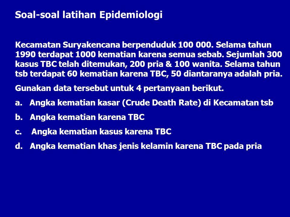 Soal-soal latihan Epidemiologi Kecamatan Suryakencana berpenduduk 100 000. Selama tahun 1990 terdapat 1000 kematian karena semua sebab. Sejumlah 300 k