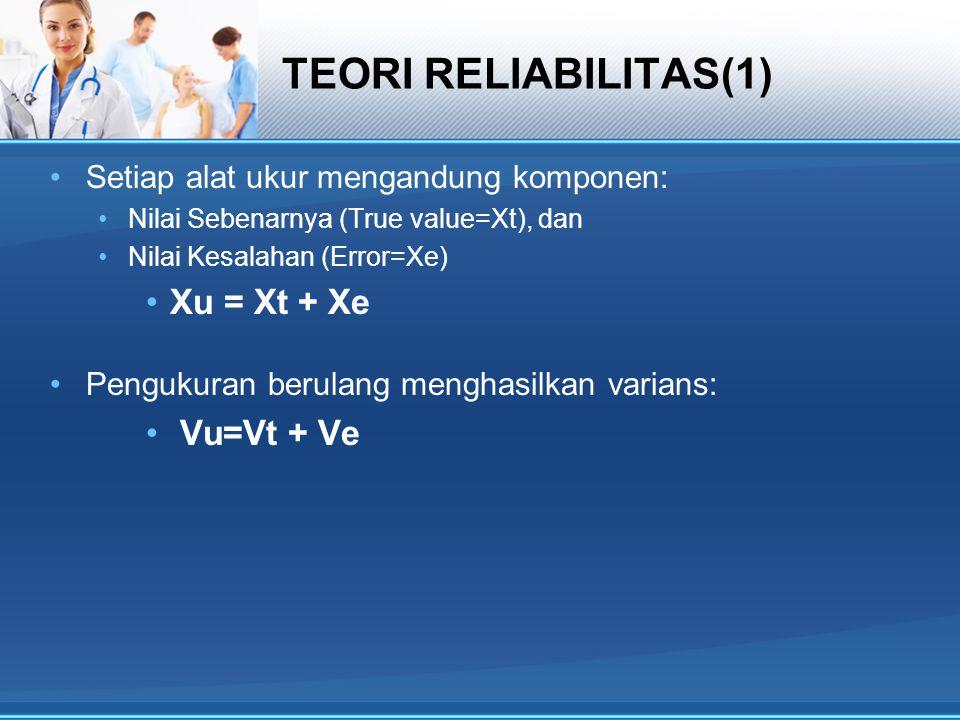 TEORI RELIABILITAS(2)  Reliabilitas (=r) adalah proporsi Varians Sebenarnya thd Varians Pengukuran: r = Vt / Vu; Nilai Vt biasanya tidak diketahui Sedangkan Vu = Vt + Ve atau Vt = Vu-Ve  r = (Vu-Ve) / Vu atau r = 1 - (Ve/Vu) Bila Ve = 0; maka r = 1