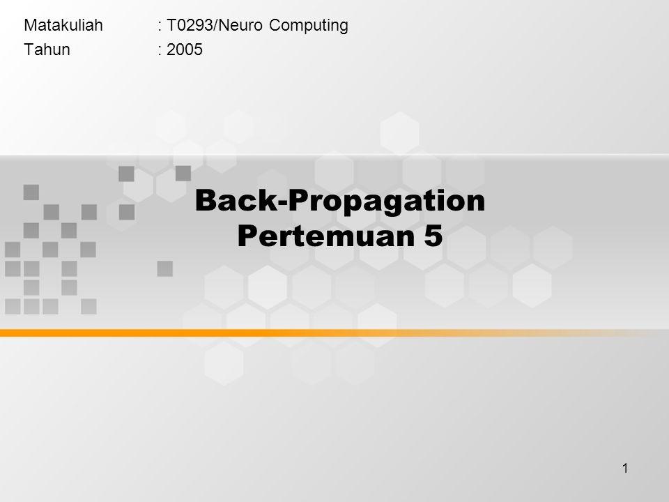 1 Back-Propagation Pertemuan 5 Matakuliah: T0293/Neuro Computing Tahun: 2005