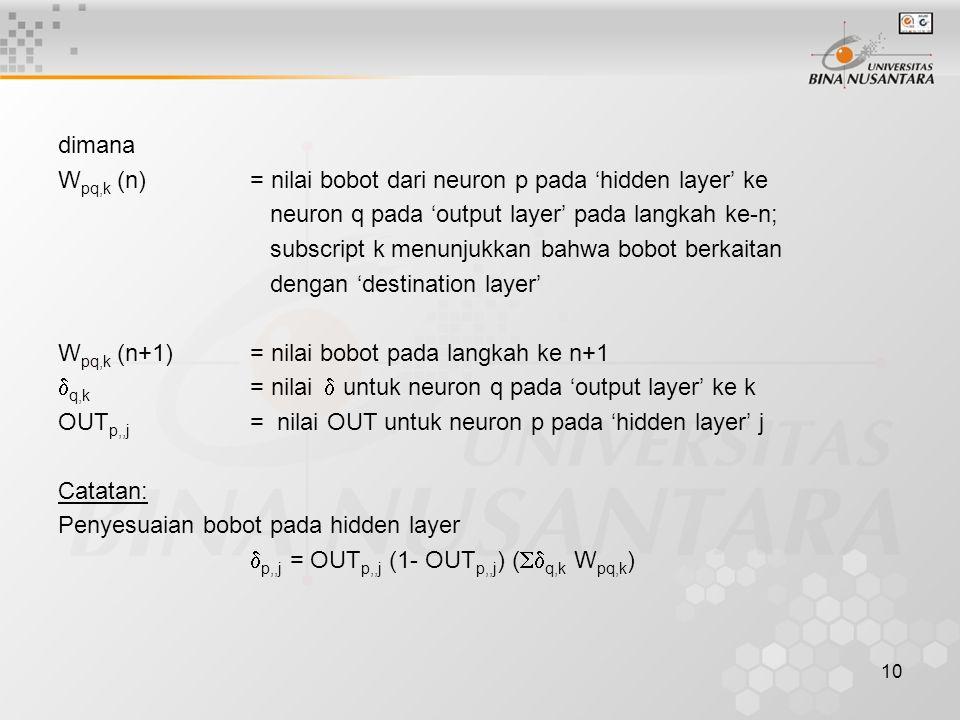 10 dimana W pq,k (n)= nilai bobot dari neuron p pada 'hidden layer' ke neuron q pada 'output layer' pada langkah ke-n; subscript k menunjukkan bahwa b