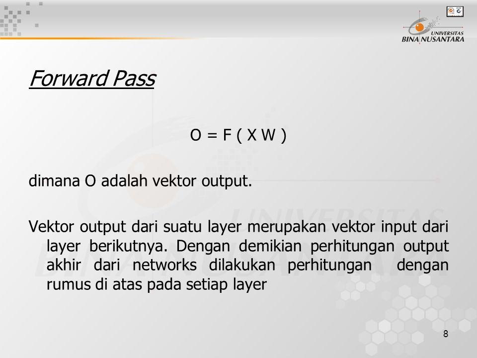 8 Forward Pass O = F ( X W ) dimana O adalah vektor output. Vektor output dari suatu layer merupakan vektor input dari layer berikutnya. Dengan demiki