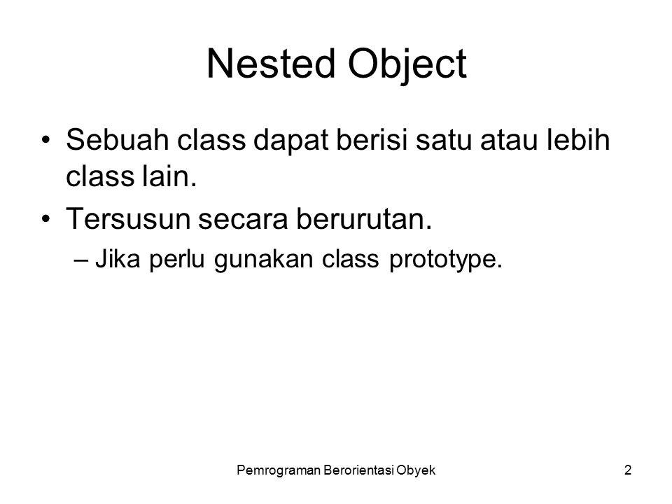 Pemrograman Berorientasi Obyek1 Sub Pokok Bahasan Nested Object.