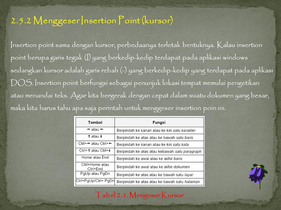 2.5.2 Menggeser Insertion Point (kursor) Insertion point sama dengan kursor, perbedaanya terletak bentuknya.
