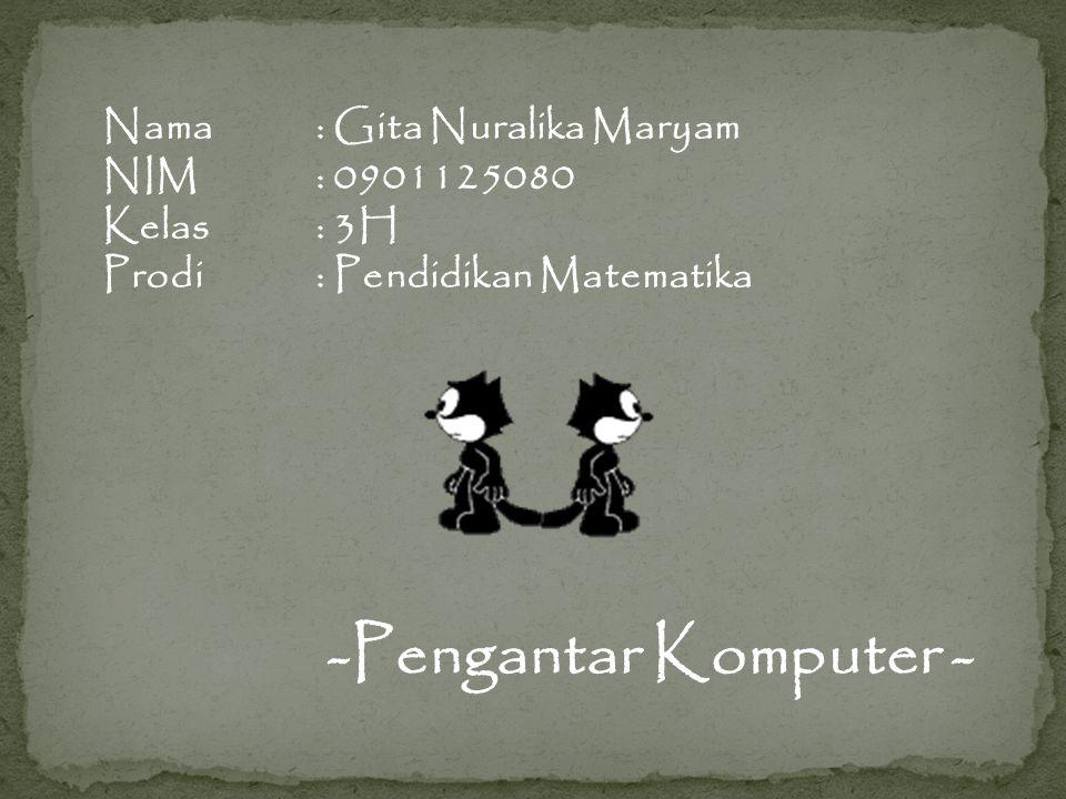 Nama: Gita Nuralika Maryam NIM: 0901125080 Kelas: 3H Prodi: Pendidikan Matematika -Pengantar Komputer -