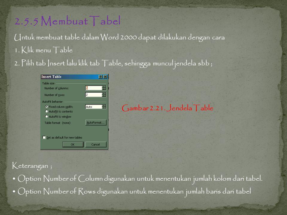 2.5.5 Membuat Tabel Untuk membuat table dalam Word 2000 dapat dilakukan dengan cara 1.