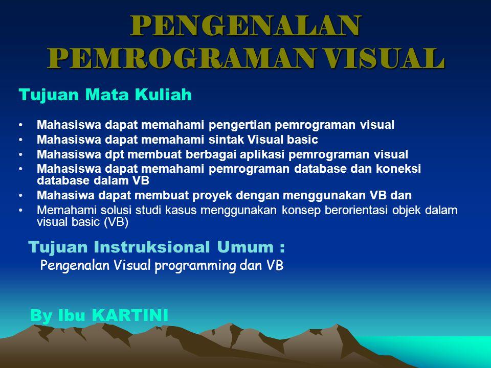 PENGENALAN PEMROGRAMAN VISUAL Tujuan Mata Kuliah Mahasiswa dapat memahami pengertian pemrograman visual Mahasiswa dapat memahami sintak Visual basic M