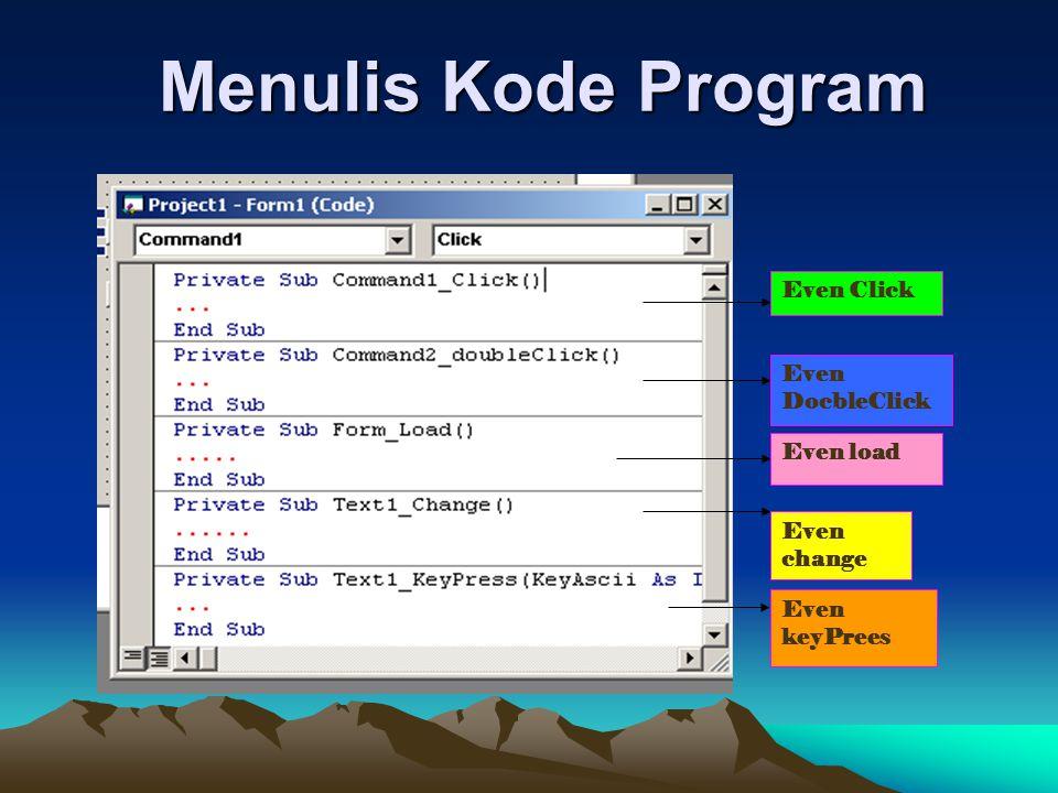 Menulis Kode Program Even Click Even DocbleClick Even load Even change Even keyPrees