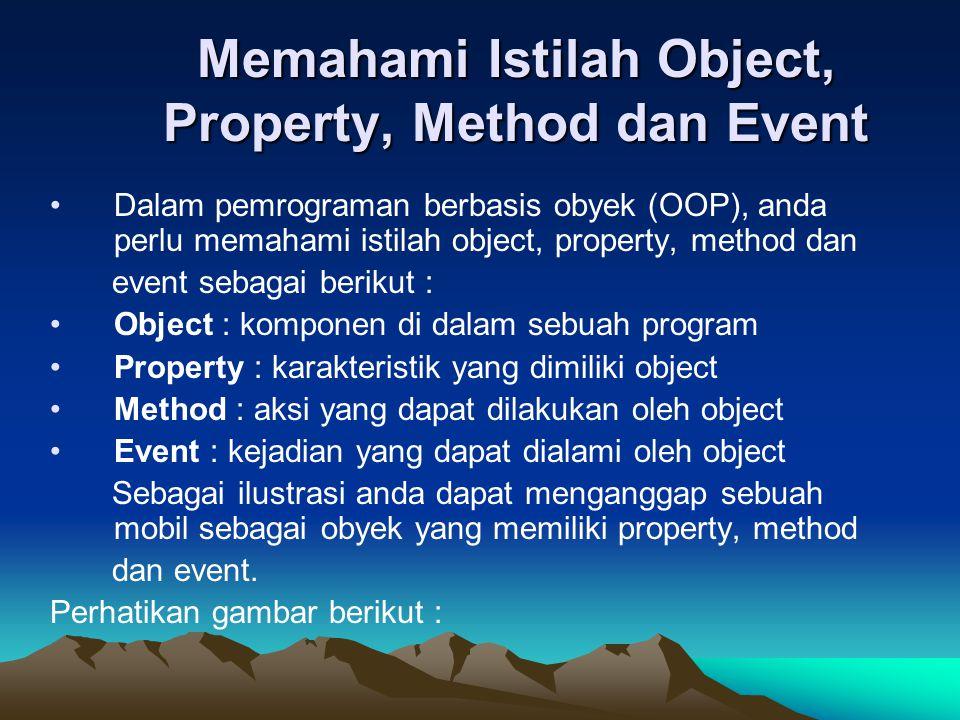 Memahami Istilah Object, Property, Method dan Event Dalam pemrograman berbasis obyek (OOP), anda perlu memahami istilah object, property, method dan e