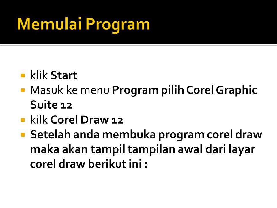  klik Start  Masuk ke menu Program pilih Corel Graphic Suite 12  kilk Corel Draw 12  Setelah anda membuka program corel draw maka akan tampil tampilan awal dari layar corel draw berikut ini :