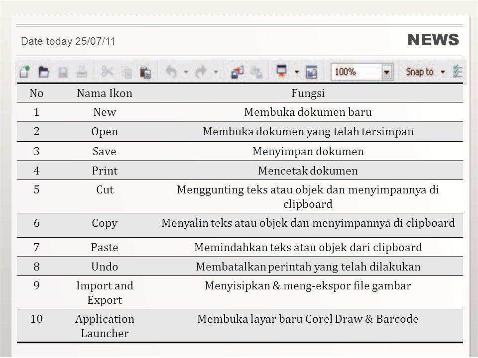 NEWS Date today 25/07/11 NoNama IkonFungsi 1NewMembuka dokumen baru 2OpenMembuka dokumen yang telah tersimpan 3SaveMenyimpan dokumen 4PrintMencetak do