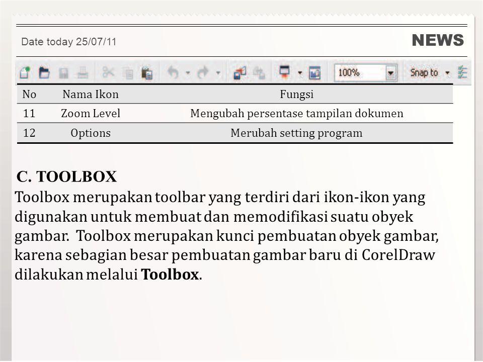 NEWS Date today 25/07/11 NoNama IkonFungsi 11Zoom LevelMengubah persentase tampilan dokumen 12OptionsMerubah setting program C. TOOLBOX Toolbox merupa