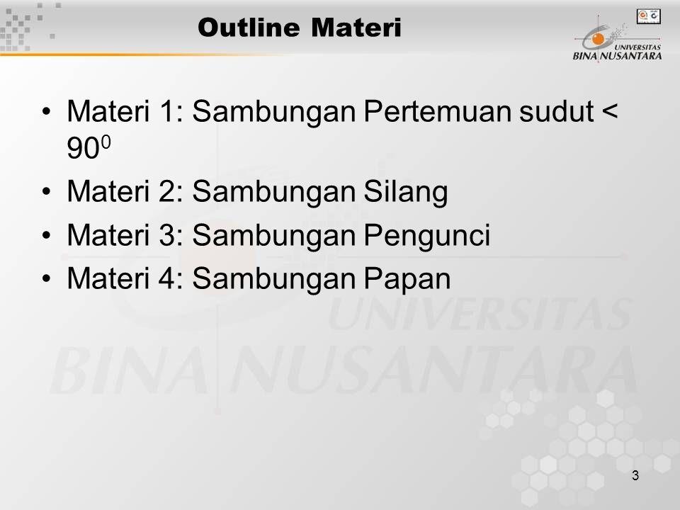 3 Outline Materi Materi 1: Sambungan Pertemuan sudut < 90 0 Materi 2: Sambungan Silang Materi 3: Sambungan Pengunci Materi 4: Sambungan Papan