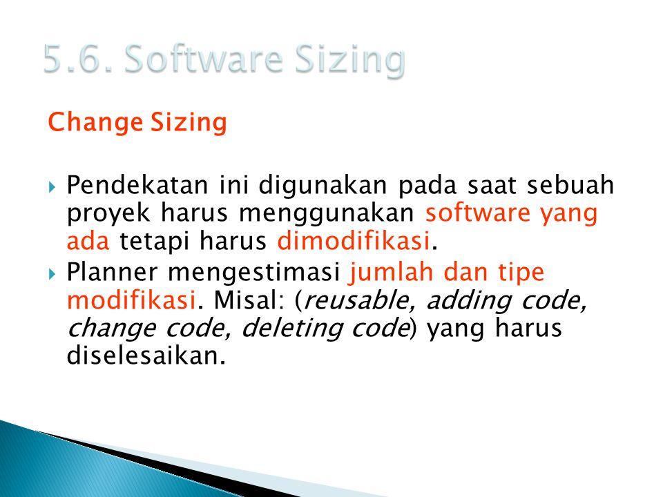 Change Sizing  Pendekatan ini digunakan pada saat sebuah proyek harus menggunakan software yang ada tetapi harus dimodifikasi.  Planner mengestimasi
