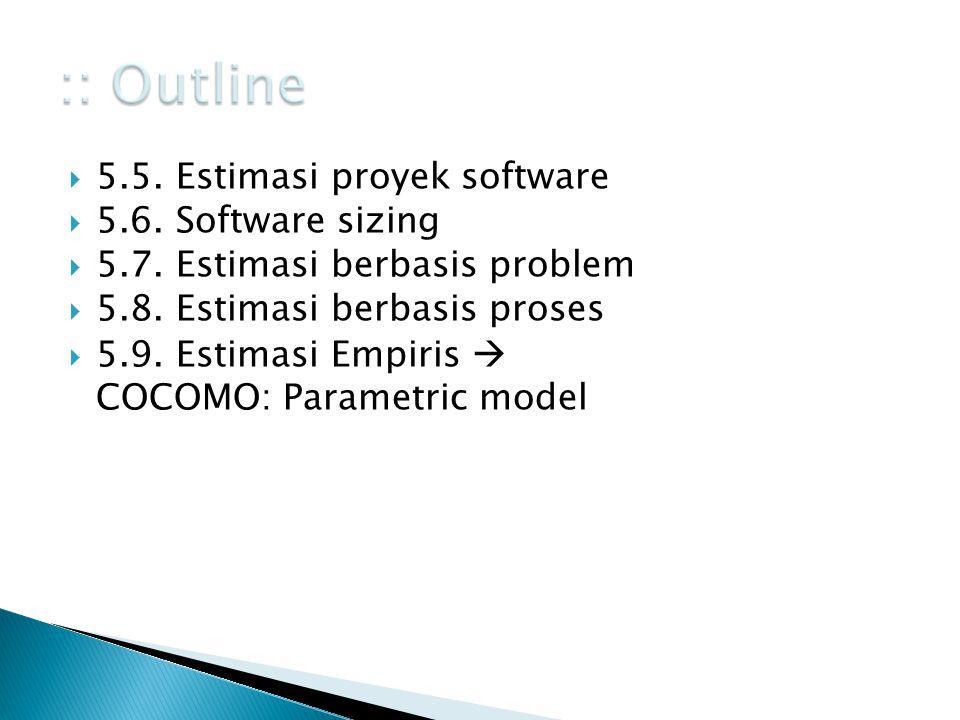  5.5. Estimasi proyek software  5.6. Software sizing  5.7. Estimasi berbasis problem  5.8. Estimasi berbasis proses  5.9. Estimasi Empiris  COCO