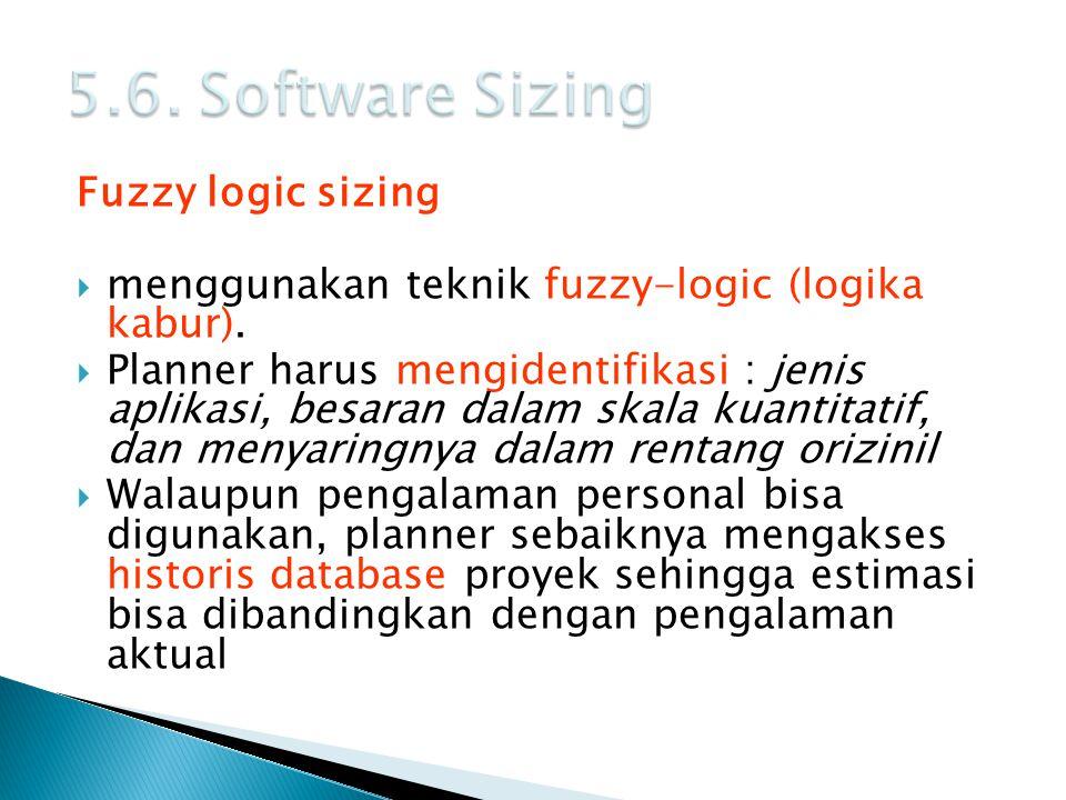 Fuzzy logic sizing  menggunakan teknik fuzzy-logic (logika kabur).  Planner harus mengidentifikasi : jenis aplikasi, besaran dalam skala kuantitatif