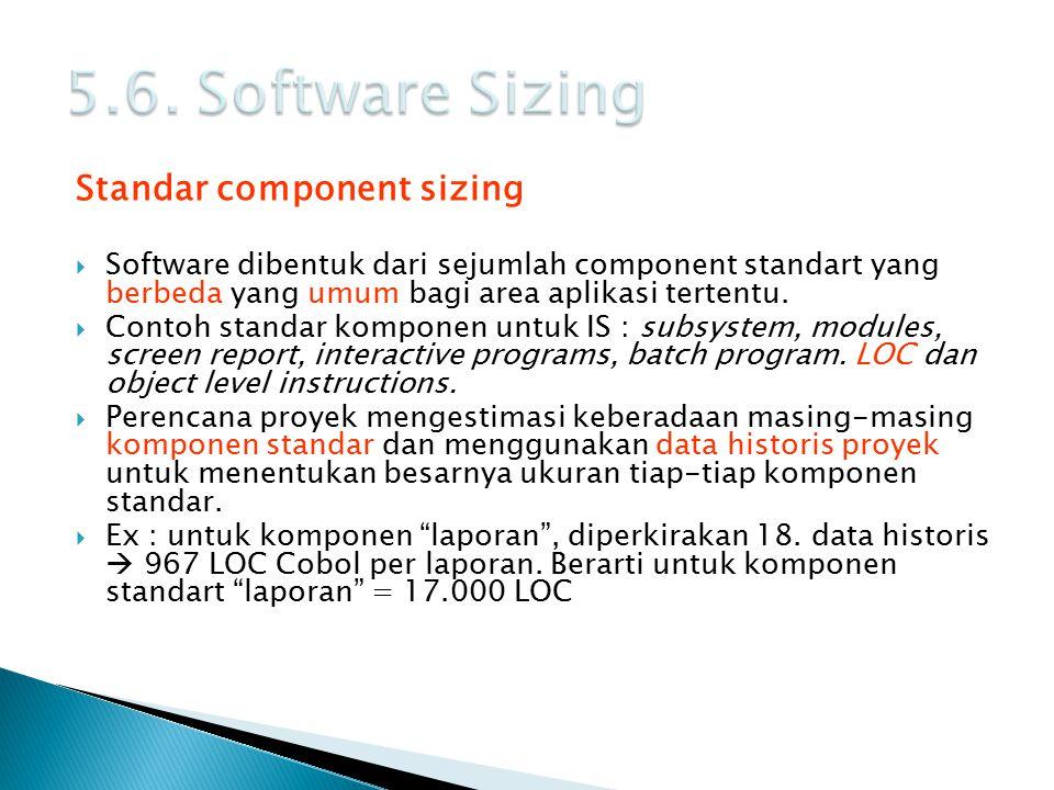 Standar component sizing  Software dibentuk dari sejumlah component standart yang berbeda yang umum bagi area aplikasi tertentu.  Contoh standar kom