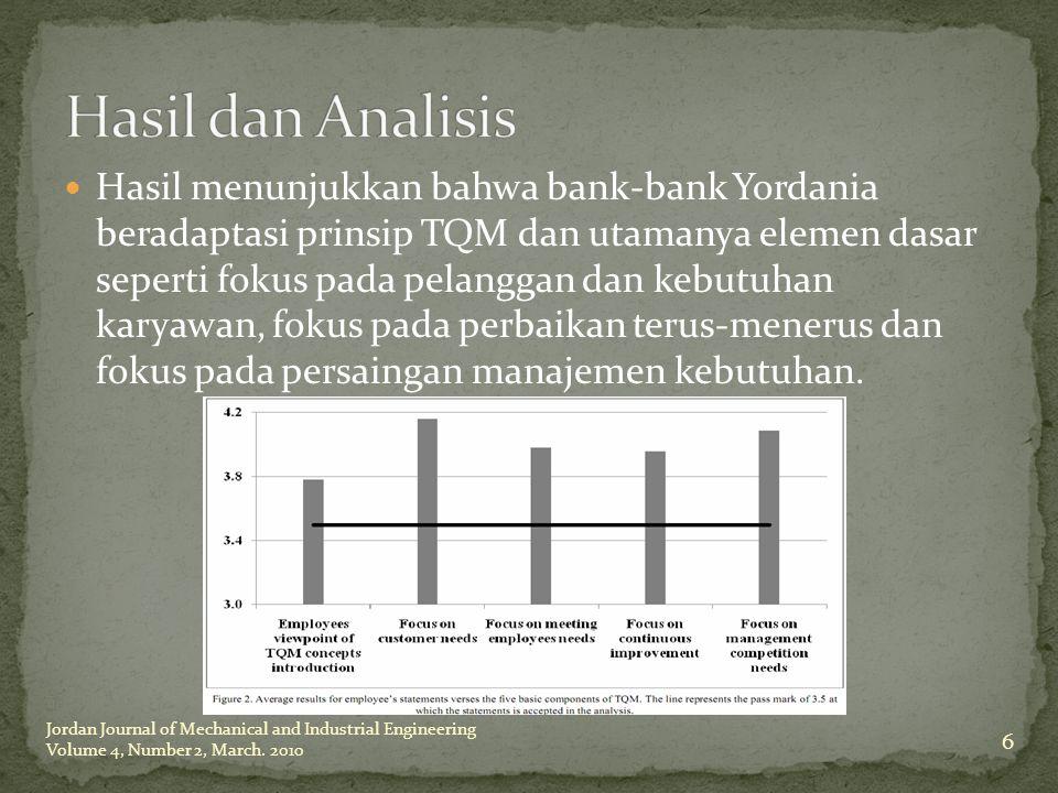 Hasil menunjukkan bahwa bank-bank Yordania beradaptasi prinsip TQM dan utamanya elemen dasar seperti fokus pada pelanggan dan kebutuhan karyawan, foku