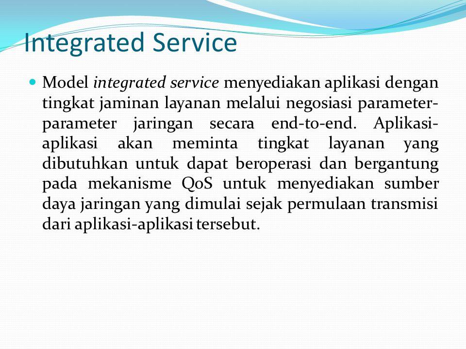 Integrated Service Model integrated service menyediakan aplikasi dengan tingkat jaminan layanan melalui negosiasi parameter- parameter jaringan secara