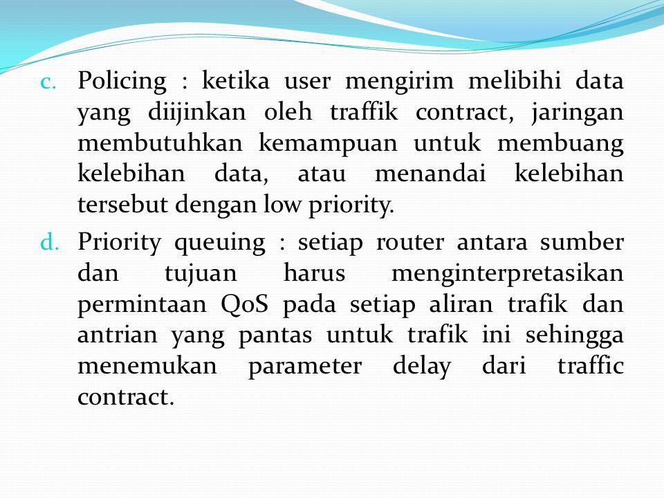 c. Policing : ketika user mengirim melibihi data yang diijinkan oleh traffik contract, jaringan membutuhkan kemampuan untuk membuang kelebihan data, a