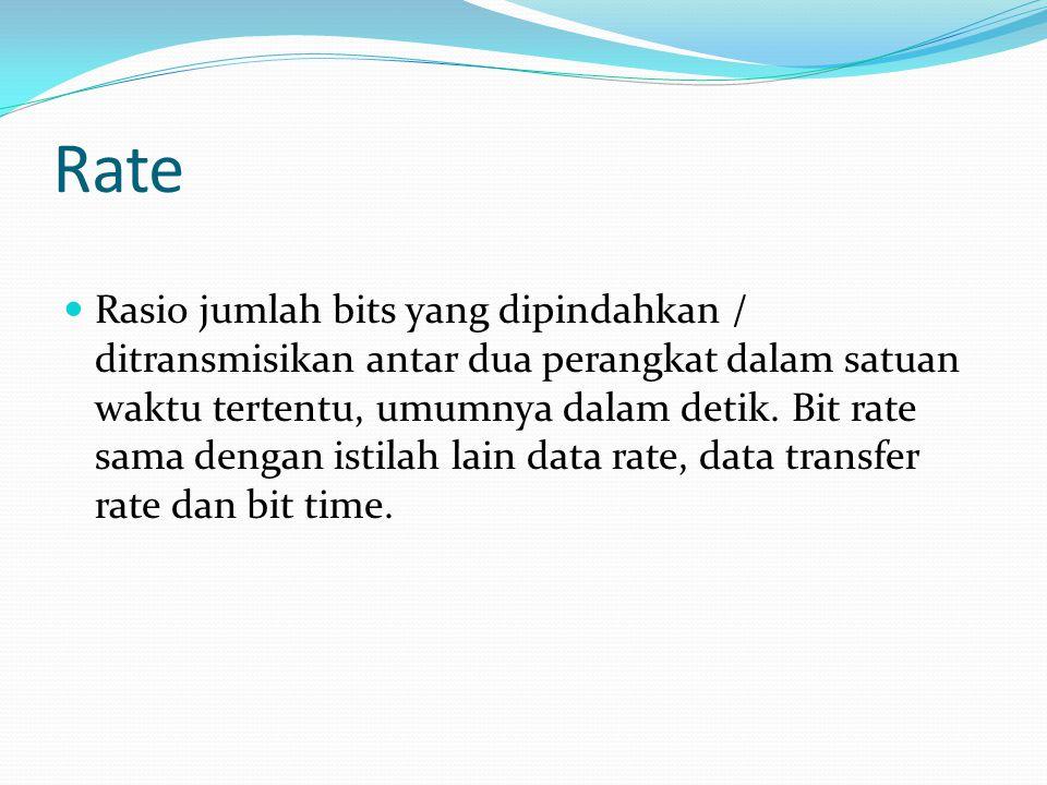 Rate Rasio jumlah bits yang dipindahkan / ditransmisikan antar dua perangkat dalam satuan waktu tertentu, umumnya dalam detik. Bit rate sama dengan is