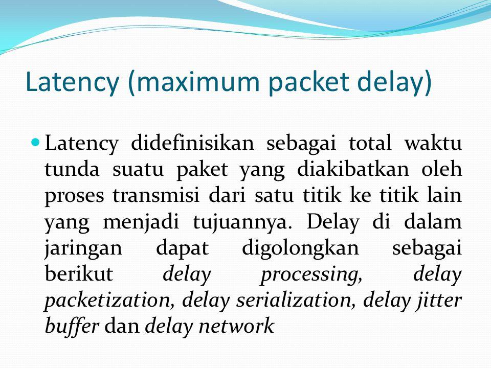 Latency (maximum packet delay) Latency didefinisikan sebagai total waktu tunda suatu paket yang diakibatkan oleh proses transmisi dari satu titik ke t