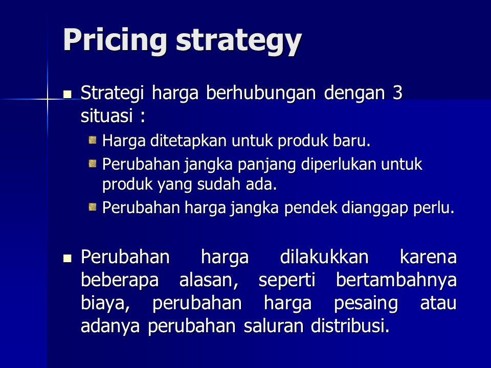 Pricing strategy Strategi harga berhubungan dengan 3 situasi : Strategi harga berhubungan dengan 3 situasi : Harga ditetapkan untuk produk baru. Perub