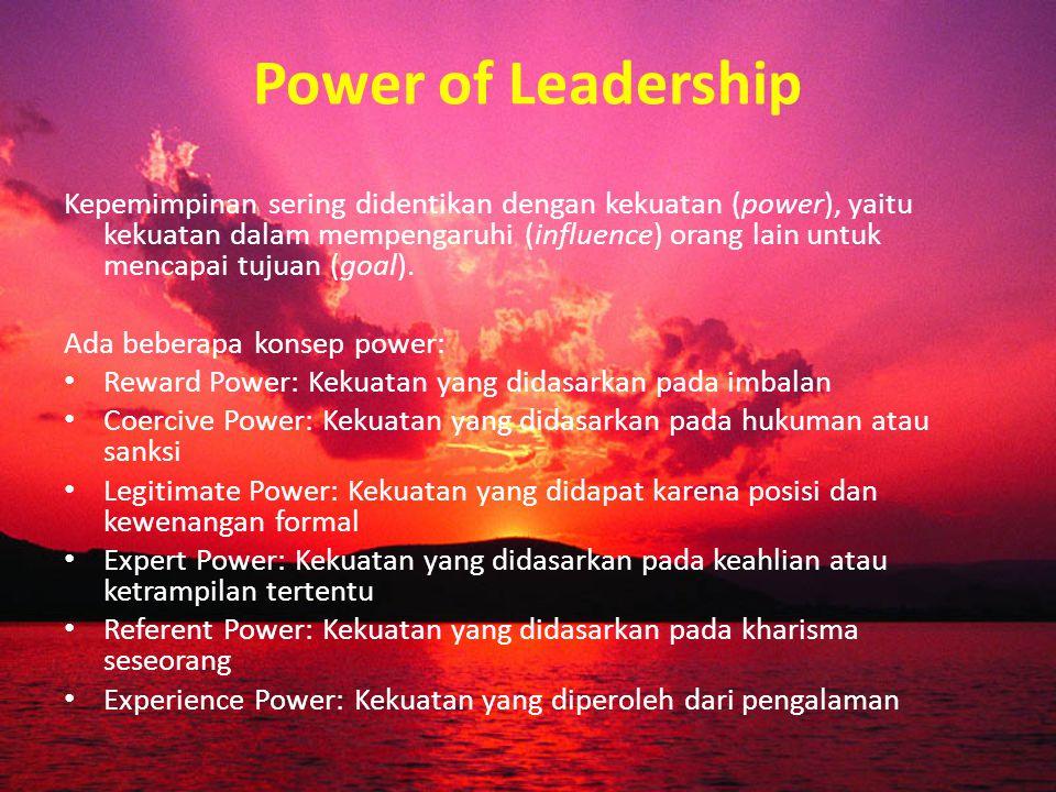 Kepemimpinan yang Efektif: Future View (mempunyai wawasan masa depan) Strategy (mengembangkan strategi) Motivation (mendorong motivasi)