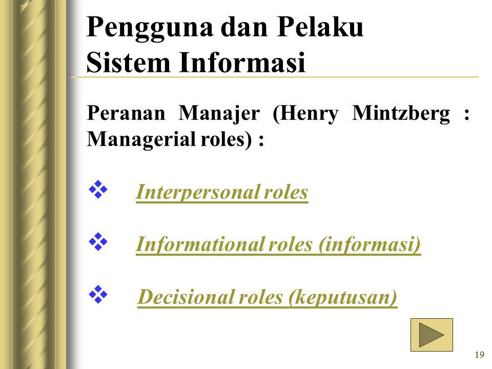 19 Pengguna dan Pelaku Sistem Informasi Peranan Manajer (Henry Mintzberg : Managerial roles) :  Interpersonal rolesInterpersonal roles  Informational roles (informasi) Informational roles (informasi)  Decisional roles (keputusan)Decisional roles (keputusan)