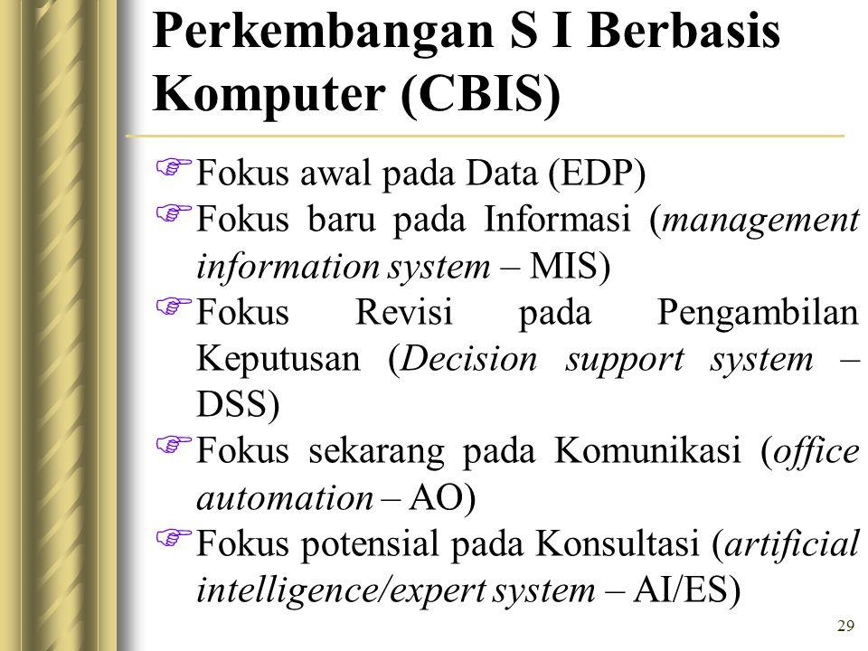 29 Perkembangan S I Berbasis Komputer (CBIS)  Fokus awal pada Data (EDP)  Fokus baru pada Informasi (management information system – MIS)  Fokus Revisi pada Pengambilan Keputusan (Decision support system – DSS)  Fokus sekarang pada Komunikasi (office automation – AO)  Fokus potensial pada Konsultasi (artificial intelligence/expert system – AI/ES)