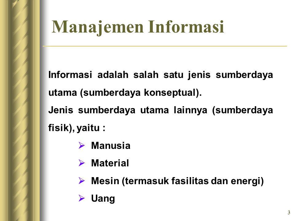 4 Manajemen Informasi Tugas Manajer adalah : Mengarahkan penggunaan semua sumberdaya agar dapat di- manfaatkan secara efektif.