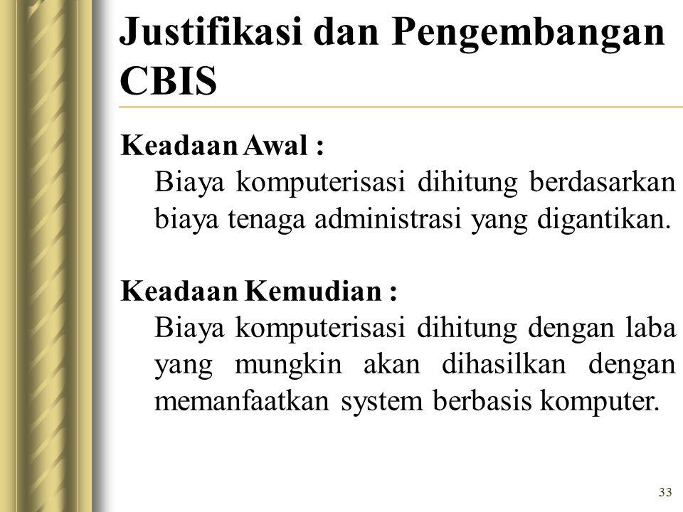 33 Justifikasi dan Pengembangan CBIS Keadaan Awal : Biaya komputerisasi dihitung berdasarkan biaya tenaga administrasi yang digantikan.