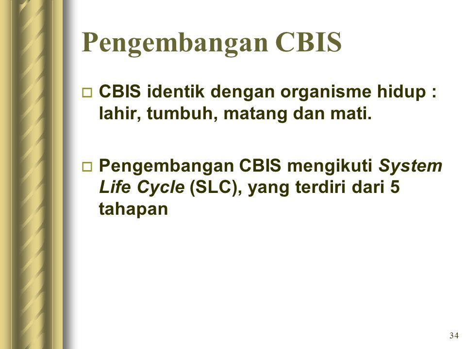 34 Pengembangan CBIS o CBIS identik dengan organisme hidup : lahir, tumbuh, matang dan mati.