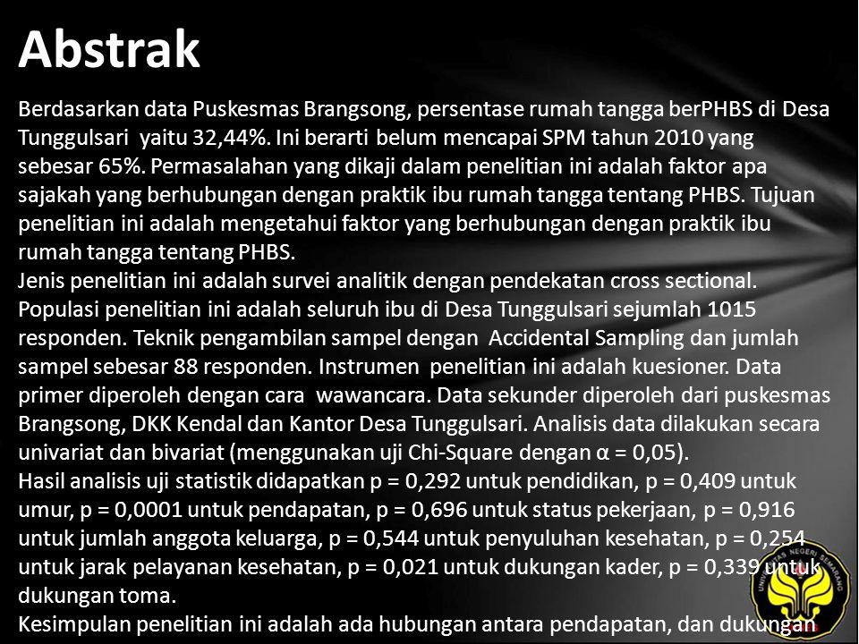 Abstrak Berdasarkan data Puskesmas Brangsong, persentase rumah tangga berPHBS di Desa Tunggulsari yaitu 32,44%.