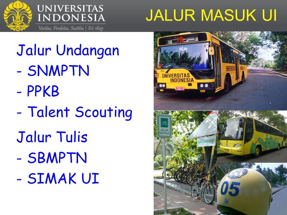 Jalur Undangan -SNMPTN -PPKB -Talent Scouting Jalur Tulis -SBMPTN -SIMAK UI JALUR MASUK UI