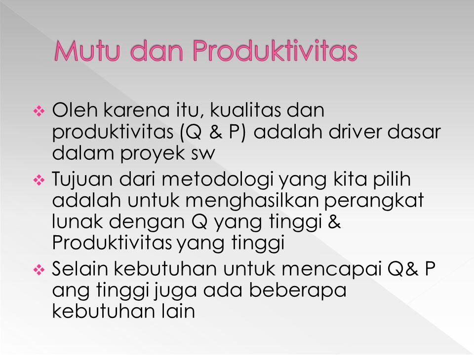 Oleh karena itu, kualitas dan produktivitas (Q & P) adalah driver dasar dalam proyek sw  Tujuan dari metodologi yang kita pilih adalah untuk menghasilkan perangkat lunak dengan Q yang tinggi & Produktivitas yang tinggi  Selain kebutuhan untuk mencapai Q& P ang tinggi juga ada beberapa kebutuhan lain