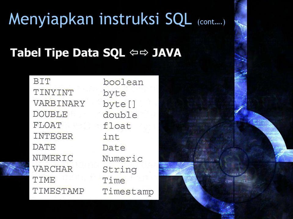 Menyiapkan instruksi SQL (cont….) Tabel Tipe Data SQL  JAVA