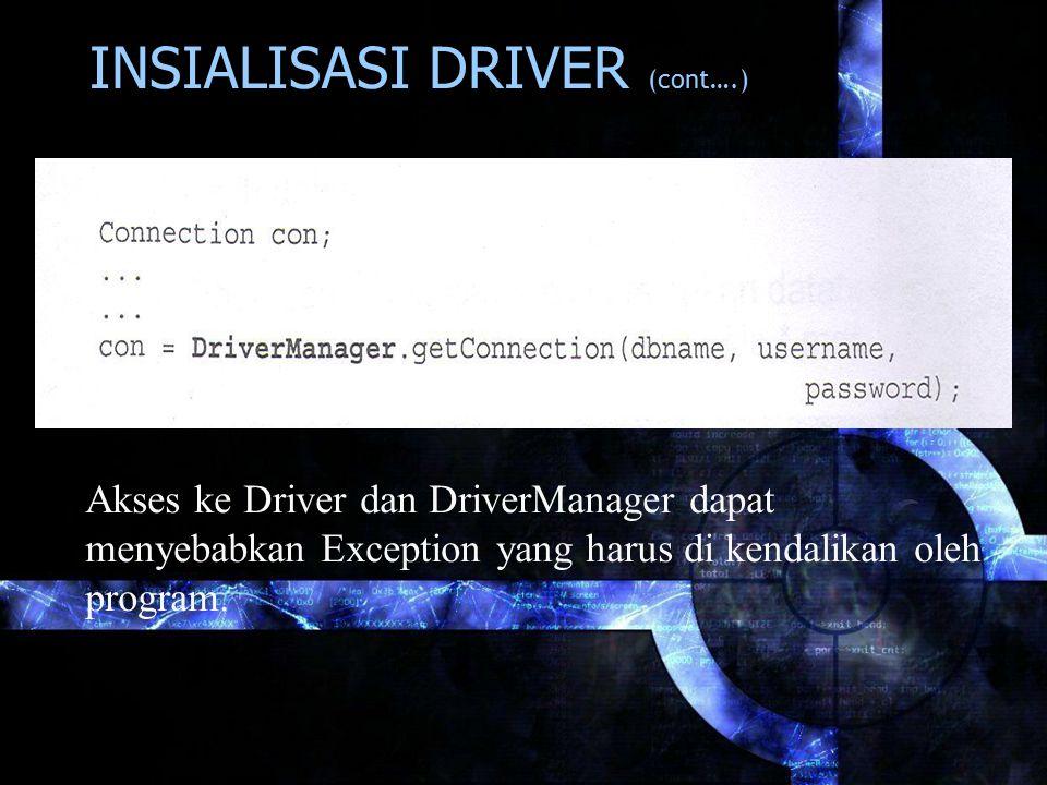 INSIALISASI DRIVER (cont….) Akses ke Driver dan DriverManager dapat menyebabkan Exception yang harus di kendalikan oleh program.