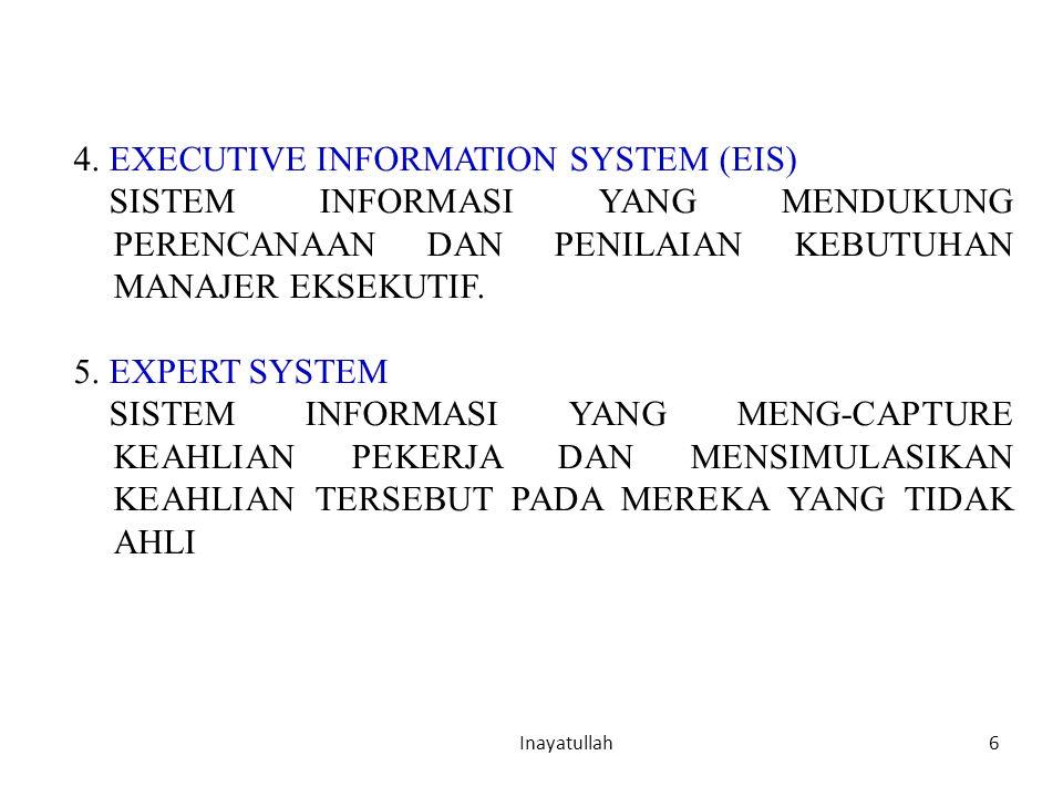 6 Inayatullah 4. EXECUTIVE INFORMATION SYSTEM (EIS) SISTEM INFORMASI YANG MENDUKUNG PERENCANAAN DAN PENILAIAN KEBUTUHAN MANAJER EKSEKUTIF. 5. EXPERT S