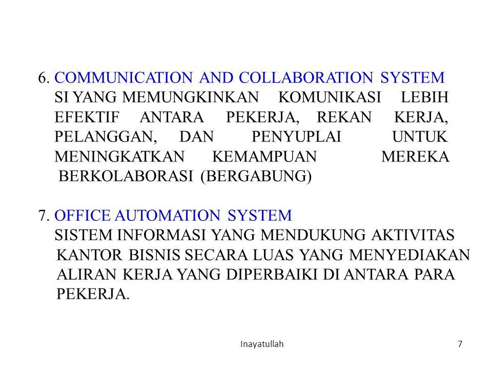 7 Inayatullah 6. COMMUNICATION AND COLLABORATION SYSTEM SI YANG MEMUNGKINKAN KOMUNIKASI LEBIH EFEKTIF ANTARA PEKERJA, REKAN KERJA, PELANGGAN, DAN PENY