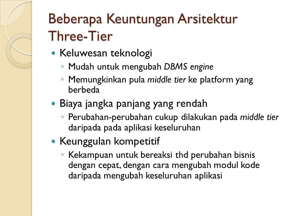 Beberapa Keuntungan Arsitektur Three-Tier Keluwesan teknologi ◦ Mudah untuk mengubah DBMS engine ◦ Memungkinkan pula middle tier ke platform yang berb
