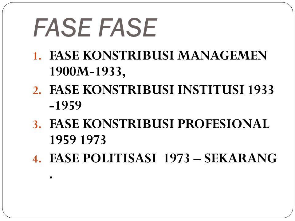 FASE 1. FASE KONSTRIBUSI MANAGEMEN 1900M-1933, 2. FASE KONSTRIBUSI INSTITUSI 1933 -1959 3. FASE KONSTRIBUSI PROFESIONAL 1959 1973 4. FASE POLITISASI 1