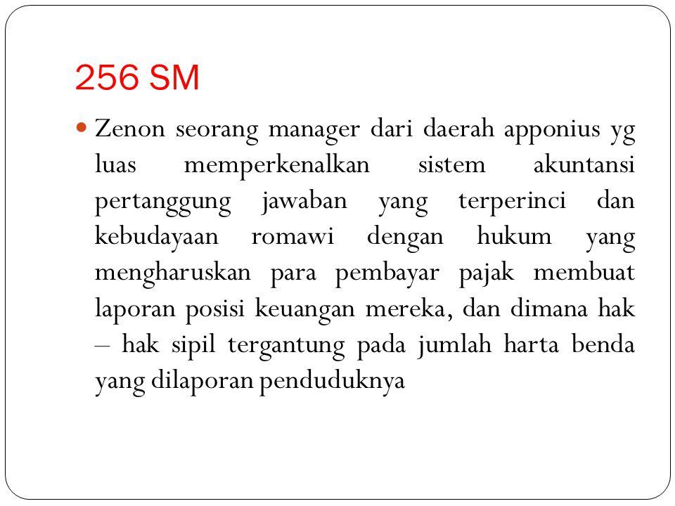 256 SM Zenon seorang manager dari daerah apponius yg luas memperkenalkan sistem akuntansi pertanggung jawaban yang terperinci dan kebudayaan romawi de
