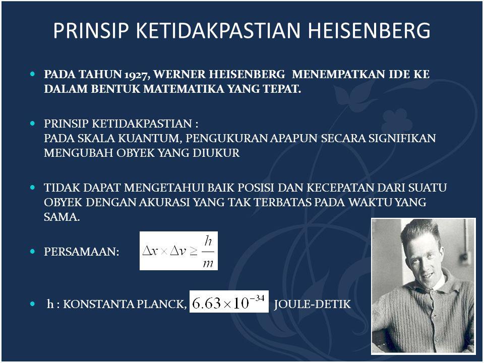 PRINSIP KETIDAKPASTIAN HEISENBERG PADA TAHUN 1927, WERNER HEISENBERG MENEMPATKAN IDE KE DALAM BENTUK MATEMATIKA YANG TEPAT. PRINSIP KETIDAKPASTIAN : P